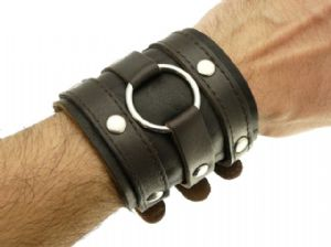 Dark Brown Leather Wide Triple Strap Cuff Wrap Gothic Wristband Buckle Fastening - 46